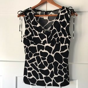 Wrapper knit blouse- stretchy animal print